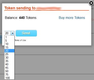 token sending